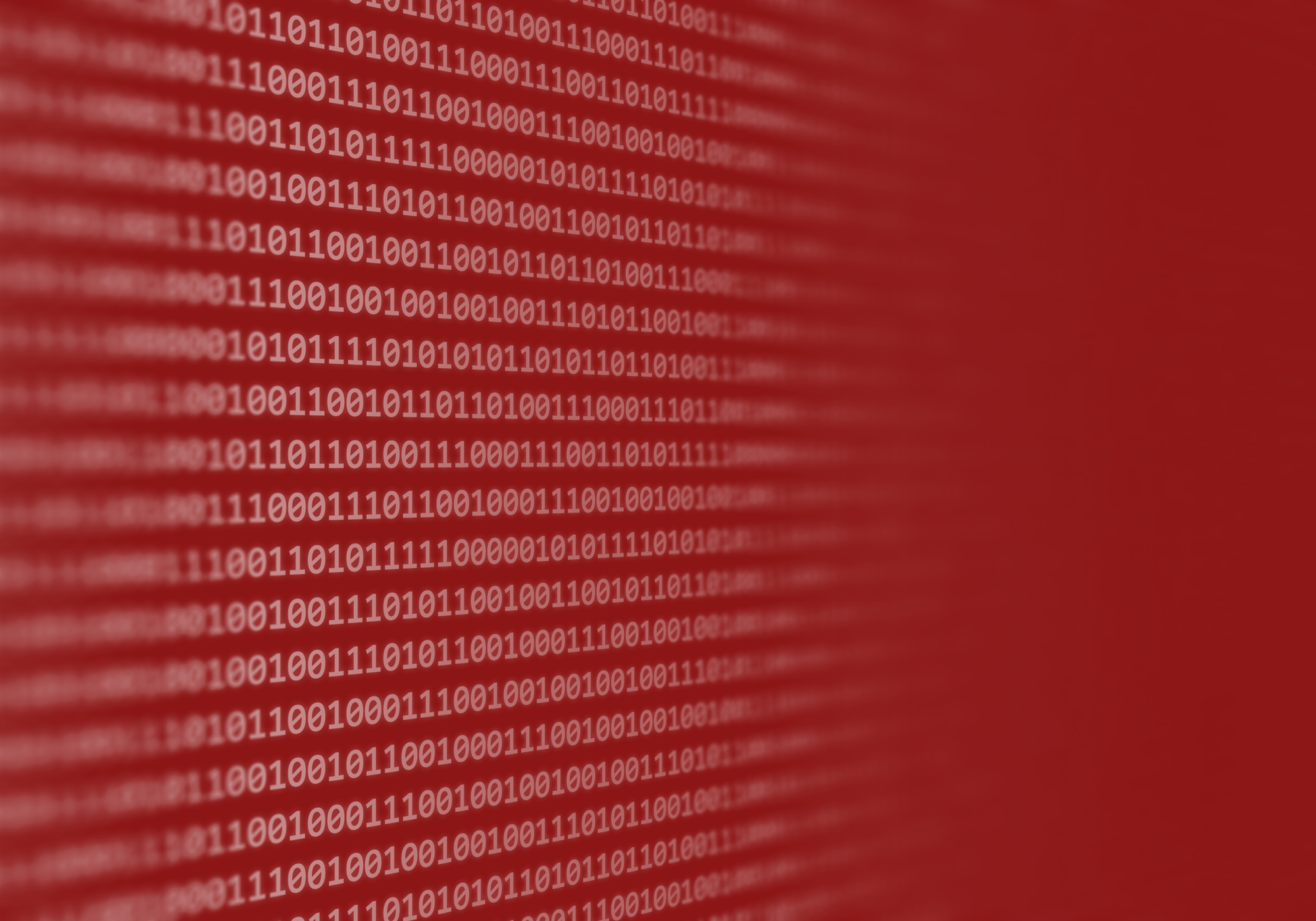 Background image featuring abstract binary code in cardinal red and white shades.