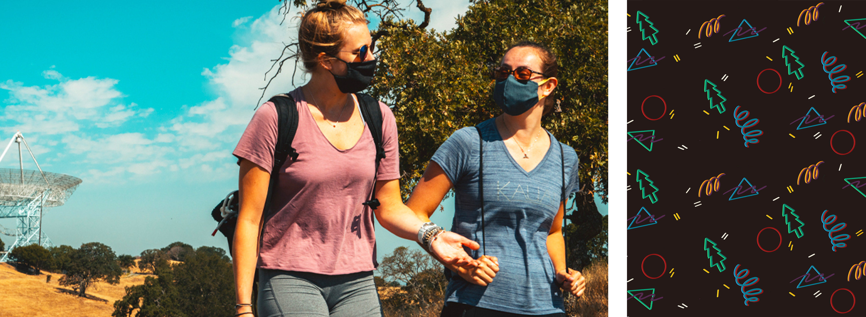Busy Stanford Dish trail with hikers wearing facemasks during Covid-19. Photo Credit: Andrew Brodhead.