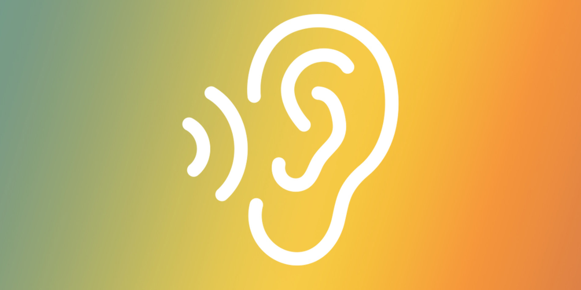 Tile icon featuring a gradient from bay to illuminating to poppy with an icon overlaid in all white of a ear outline with sound waves traveling towards it.
