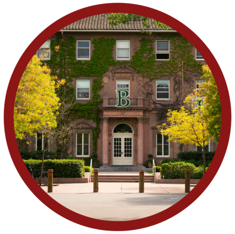 Exterior photograph of Roble Hall from Spring Quarter with a cardinal red outline in a circle shape.